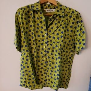 Pierre Cardin Green/Blue Short Sleeve Blouse - 6